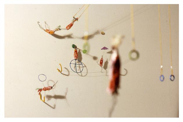 Rouge Céleste (détail), Installation technique mixte /Mixed media installation, 1994