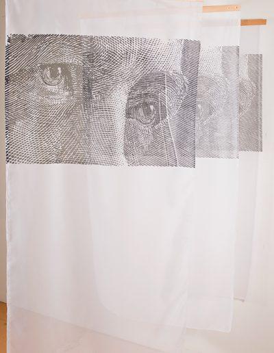 Espace-Temps, Installation en Sérigraphie/Silkscreen installation, 2016